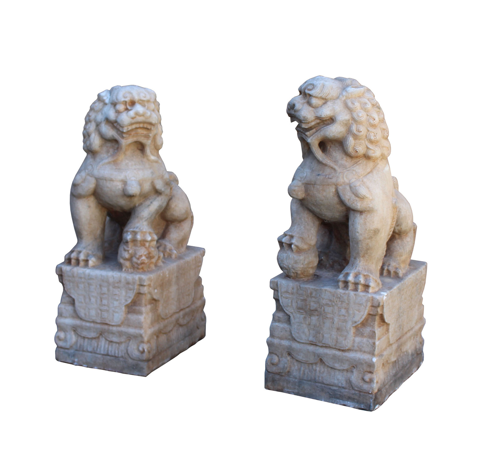 Chinese Pair Off White Marble Stone Fengshui Foo Dogs Statues cs3224 image 2