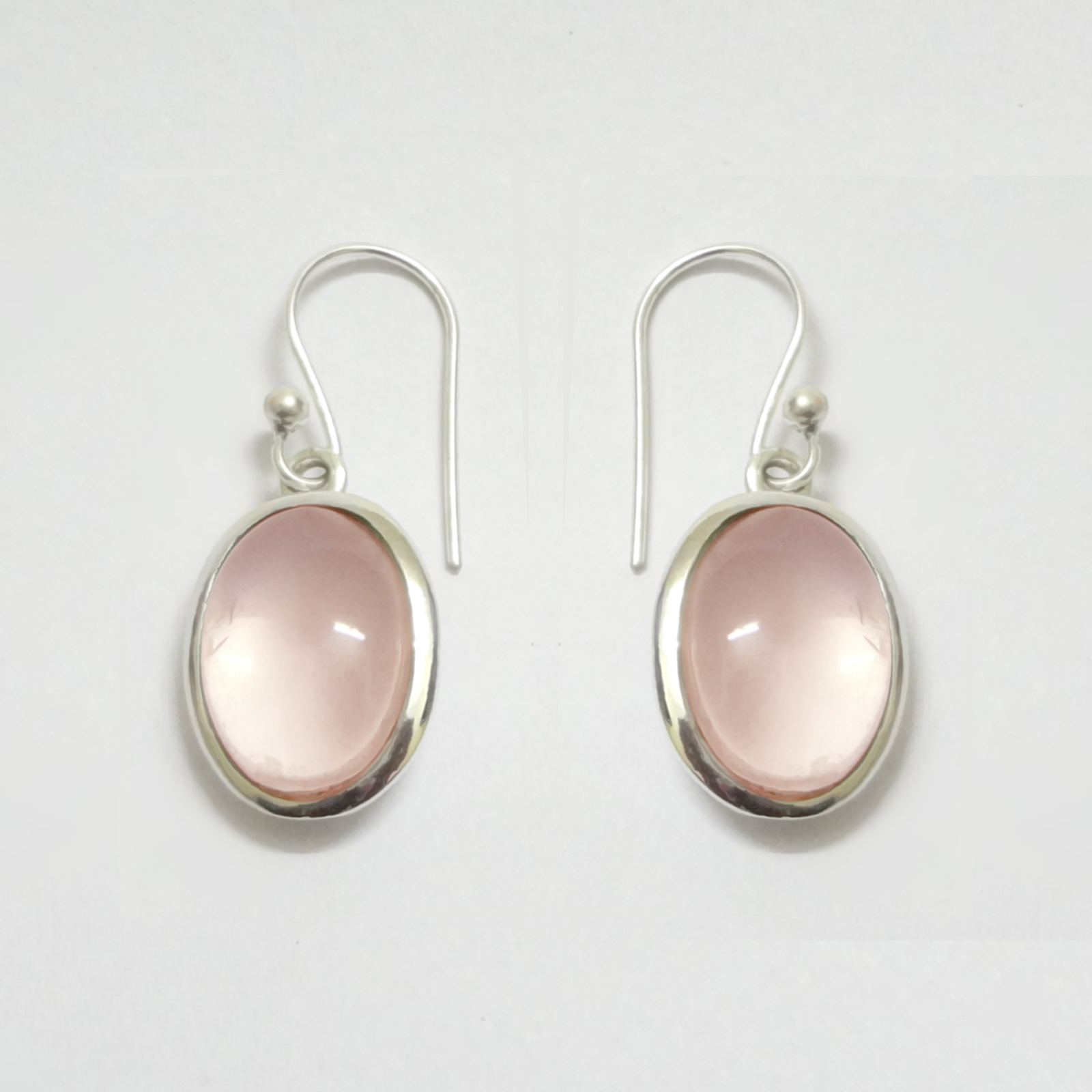 Rose Quartz 925 Sterling Silver Dangle Earrings, Handmade Jewelry for Women, Ste