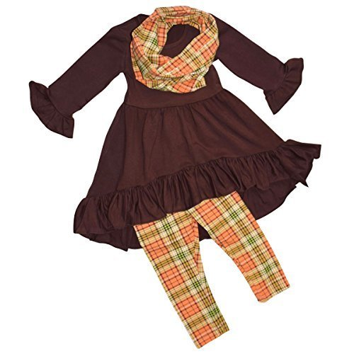 Unique Baby Girls 3 Piece Fall Colors Thanksgiving Legging Set (6)