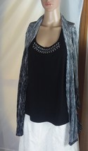 JM Collection Women's Knit Top Size M Black/Silver Layered Look with Mock Shell - $20.67