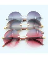 Round Wood Sunglasses Retro Rimless Frame Vintage Men Carter Sunglasses ... - $160.00