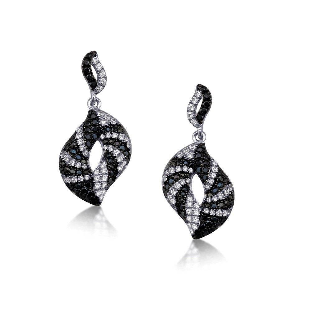 Black And White Cubic Zirconia Stones With Pave Set Earrings Sterling Silver 925