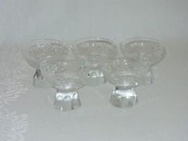 Set 5 Crystal Sherbet Cup Small Dessert Bowl Cordial Etched Vtg Pedestal... - $39.59