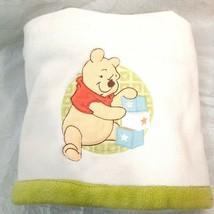 Disney Winnie the Pooh Baby Blanket ivory Green Plush velour stacking bl... - $47.88