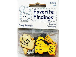 Favorite Findings Furry Friends Buttons, 8 Pieces