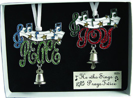 Peace Joy Christmas Ornaments Set of 2 Music Notes Bell New in Gift Box - $16.82
