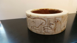 Vintage Carved Lions & elephants Heavy Plastic Bangle; wood interior size 7 VG+ - $9.99