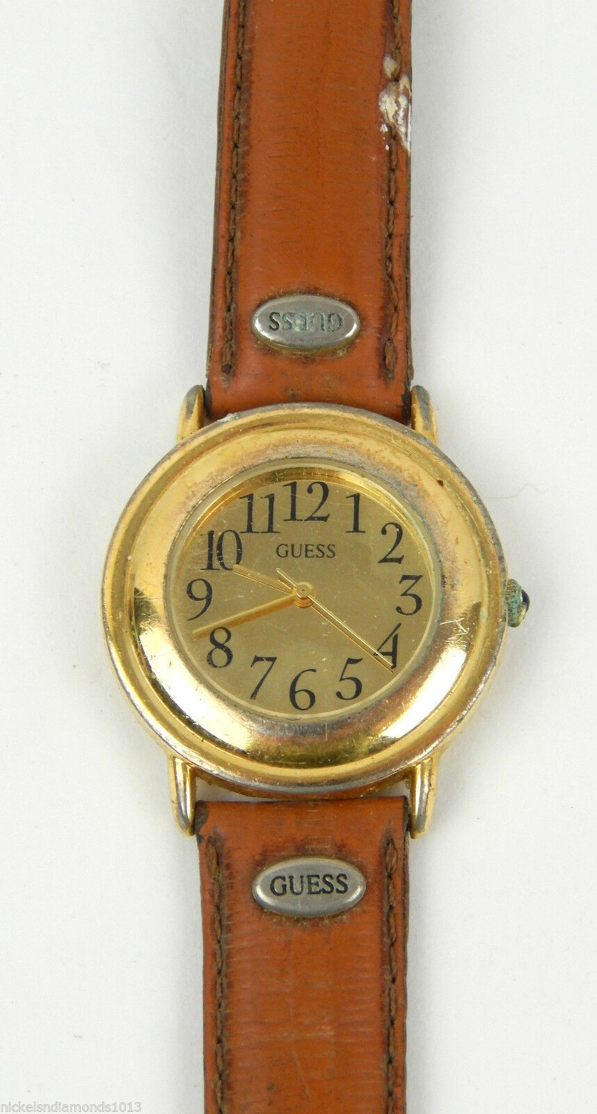 Primary image for VINTAGE 80'S  MEN'S GUESS WATCH LEATHER BAND GOLD TONE FACE, NO BACK