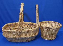 2 Natural Woven Wicker Basket  Fixed Handle Plant  Pot Holder  Lot of 2  - $16.22 CAD
