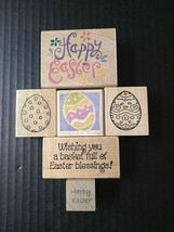 Rubber Stamps Happy Easter Eggs Basket Full Of Blessings Holiday Lot Of 6 - $16.69