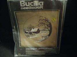 "NIP 22 x 22"" Bucilla Crewel Embroidery Kit Frosted Countryside Barn Farm 48689 - $44.54"