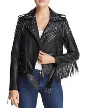Designer Studded Shoulder & Fringed Women's Genuine Soft Lambskin Leathe... - $179.00