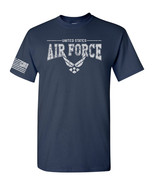 US Air Force Logo w/US Flag Sleeve American Military USAF Men's Tee Shir... - $8.87+