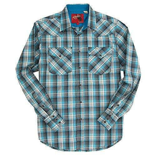 Rodeo Clothing Co.. Men's Western Cowboy Pearl Snap Long Sleeve Plaid Shirt