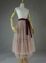 Adult Bridesmaid Tiered Tulle Skirt, Nude Pink Tulle Skirt with Belt,Photo Shoot image 6