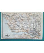 """PORTUGAL Porto Oporto & Environs - 1913 Baedeker Map 4 x 6"""" (10 x 15 cm) - $9.00"""