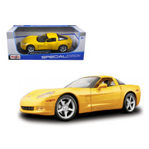 2005 Chevrolet Corvette C6 Coupe Yellow 1/18 Diecast Model Car by Maisto... - $46.47