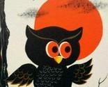 Halloween Tally Game Card Owl Full Moon On Tree Original NOS Vintage Foldout