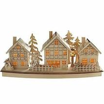 WeRChristmas Pre-Lit Village Scene Christmas Decoration, Wood, 37.5 cm - - $39.60