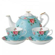 Royal Albert Teaware Polka Blue Tea Set for Two 3 piece set #POLBLU25823 - $163.35