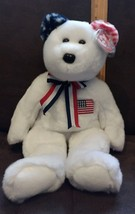 "2002 TY BEANIE BUDDY COLLECTION  - AMERICA (WHITE TEDDY BEAR PLUSH) 14"" - $5.93"
