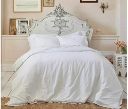 Simply Shabby Chic Comforter Set Twin Size Crochet Trim Linen Cotton Blend White image 1