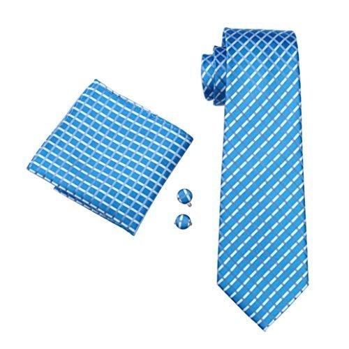 Men's Blue White Plaid 100% Silk Classic Jacquard Woven Tie+Hanky+Cufflinks Set