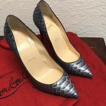 Christian Louboutin Women's Classic French Pumps Pigalle 100 Python Armure 38.5 - $386.78