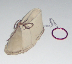 American Made! Baby Moccasin Keychain Baby Shoe Pink or Brown,  Keyring ... - $14.95