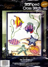 FISH AND SHELLS CROSS STITCH KIT By Golden Bee (8 x 10 INCHES) - $15.63