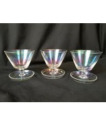 Iridescent Glass Footed Sherbet Bowls Drip Foot Tray Spoon Rest Rare Set... - $37.00
