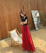 Women High Waist Floor Length Chiffon Skirt Purple Red Chiffon Bridesmaid Skirt  image 6