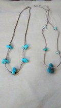 Two silver beaded necklaces with turquoise - $12.99