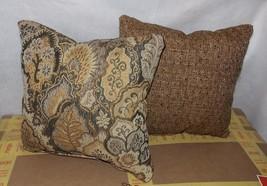 Pair of Gold Brown Leaf Print Decorative Throw Pillows  12 x 12 - $29.95