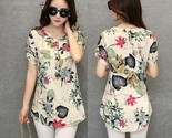 summer roll up short sleeve vintage shirt floral print blouse tops casual loose o thumb155 crop