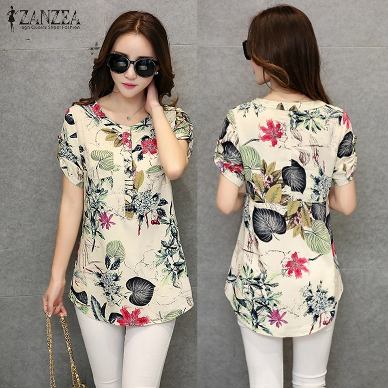 Zanzea women summer roll up short sleeve vintage shirt floral print blouse tops casual loose o