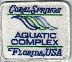 Coral Springs Aquatic Park Complex Florida FL USA3 Inches Wide Unused Patch - $4.99