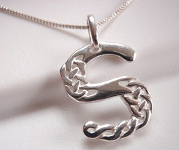 "Celtic Style Letter ""S"" Necklace 925 Sterling Silver Corona Sun Jewelry s - $27.71"