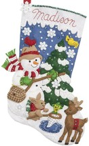 Bucilla Ice Fishing Snowman Deer Snow Christmas Holiday Felt Stocking Ki... - $38.95