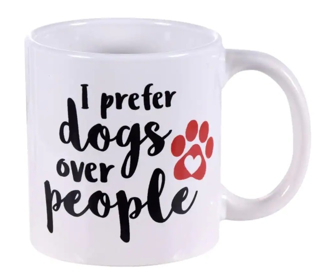 Novelty Pet Dog-Themed Stoneware Coffee Mug 14 oz I Prefer Dogs Over People