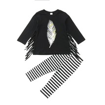 Kids Baby Girls Feather Tassel Black Tops T-shirt+ Pants Stripes Leggings - $12.96+