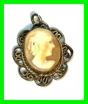 Antique Cameo Sterling Silver Pendant Vintage Carved Shell Lady Portrait - $48.49