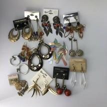 Earring Lot 12 Pairs Pierced Earrings Dangle Post Vintage 80's 90's - $11.88