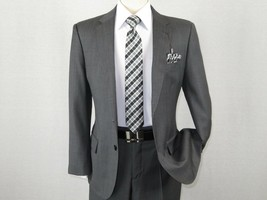 Men's Wool Cashmere Sharkskin Suit Giorgio Cosani Two Button 901 Charcoa... - $169.96