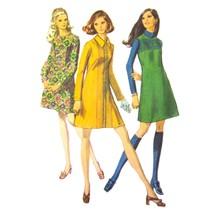 Vtg 60s Simplicity 8338 Misses L/S A-Line Dress Jumper Round Neck Mini 1... - $6.95