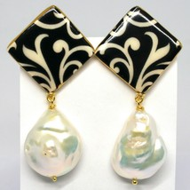 EARRINGS SILVER 925, HANGING, PEARLS BAROQUE STYLE DROP, DECORATION WHITE BLACK image 2