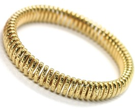 SOLID 18K YELLOW GOLD ELASTIC BRACELET BIG WAVE 11 MM, FINELY WORKED SEMI RIGID image 1