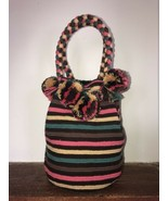 Authentic 100% Wayuu Mochila Colombian Bag Large Size Striped short stra... - $90.00