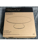 "New Pampered Chef #1957 White Ceramic Cake Stand Pedestal 13"" Diameter (... - $39.59"