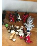 Estate Lot of Stuffed Buffalo Check Reindeer Fox Yarn Brown Bear Wildlif... - $20.32